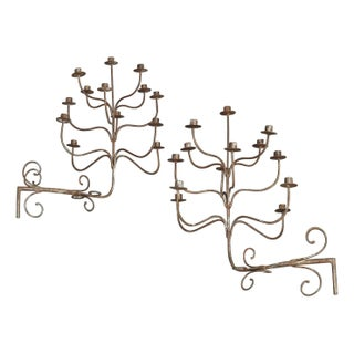 Iron Candle Wall Sconces - A Pair For Sale
