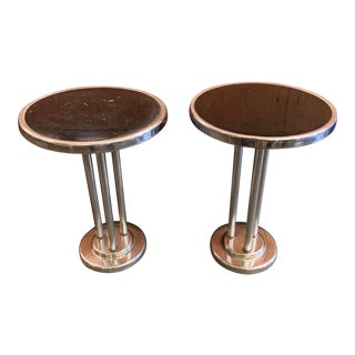 Machine Age Wolfgang Hoffman Chrome & Bakelite Drink Tables - a Pair For Sale