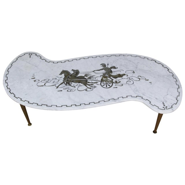 Vintage Italian Chariot Style Marble Coffee Table For Sale