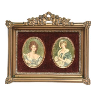 Mid 20th Century Print Portraits in Floral Gold Frame For Sale