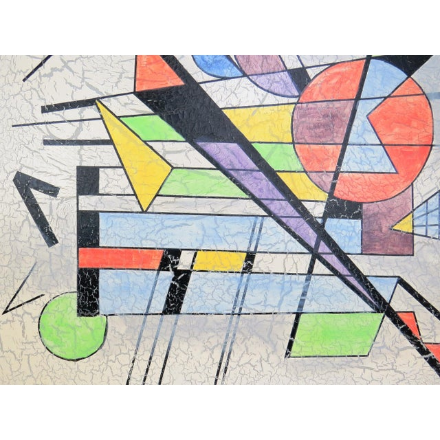 1980s 1980s Lee Reynolds Large Abstract Painting in the Style of Wassily Kandinsky For Sale - Image 5 of 11