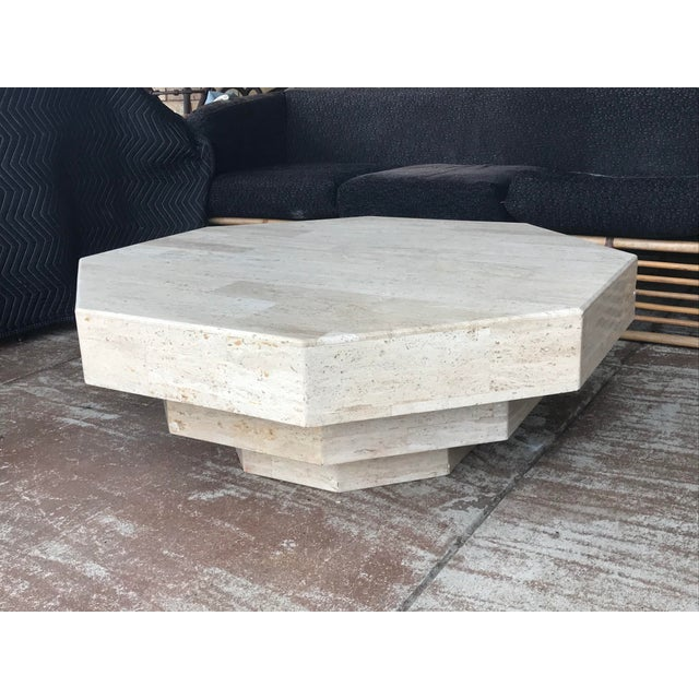 Mid-Century Modern Octagonal Stacked Travertine Coffee Table For Sale - Image 3 of 12