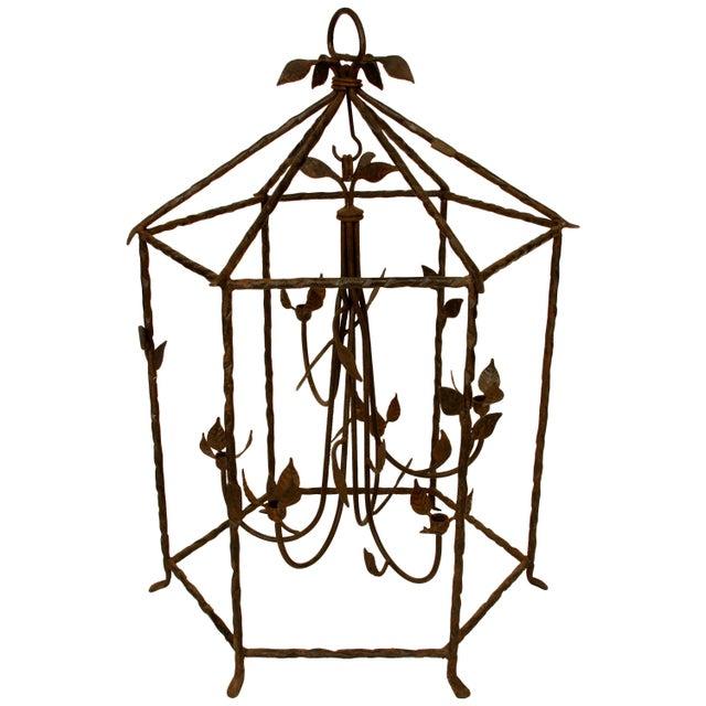 Mid 20th Century Large Iron Foliate Lantern Unelectrified For Sale - Image 5 of 5
