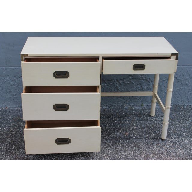 1970's Dixie Mid Century Campaign Writing Desk For Sale - Image 11 of 11