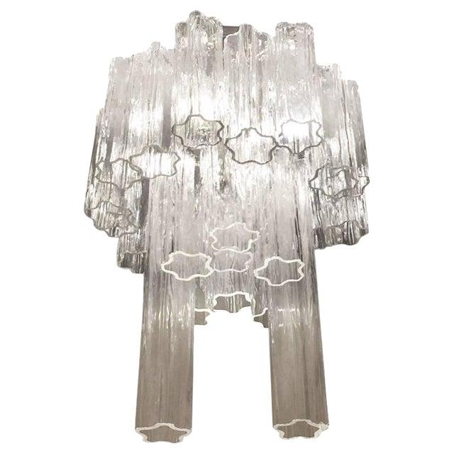Round Mid-Century Italian Tronchi Glass Chandelier For Sale