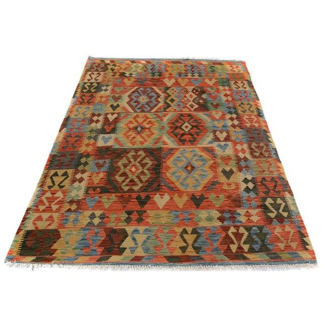 Arya Carmen Blue/Gold Wool Kilim Rug - 4'11 X 6'8 For Sale - Image 4 of 7