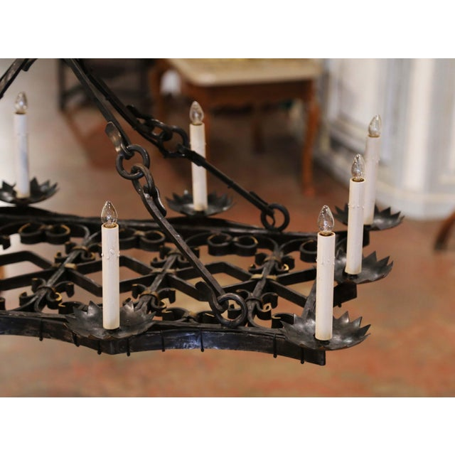 19th Century French Gothic Forged Iron Flat Bottom Ten-Light Chandelier For Sale - Image 10 of 13