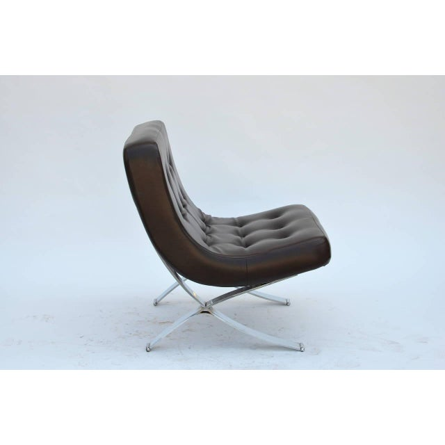 1970s Pair of Chromed Italian 1970s Slipper Chairs For Sale - Image 5 of 7