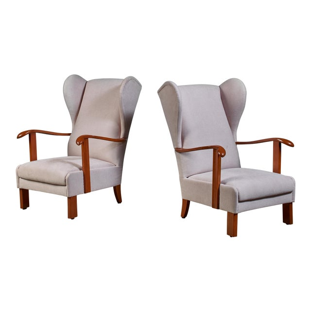 Pair of Fritz Hansen Wingback Lounge Chairs, Denmark, 1930s For Sale
