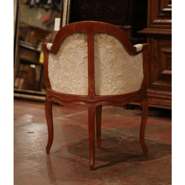 Set of Four Early 20th Century French Louis XV Carved Walnut Desk Armchairs For Sale - Image 11 of 12
