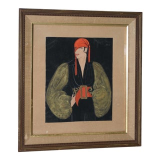 1926 Art Deco Fashion Watercolor Painting by Josephine Gille For Sale