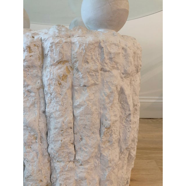 Sculpted Plaster and Glass Side Table For Sale - Image 4 of 6