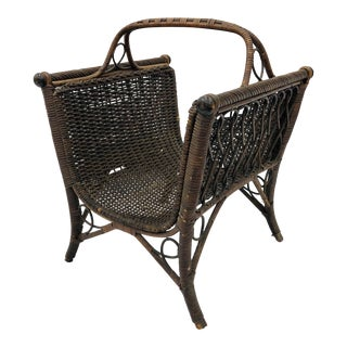 Antique Victorian Woven Wicker & Wood Basket / Holder For Sale