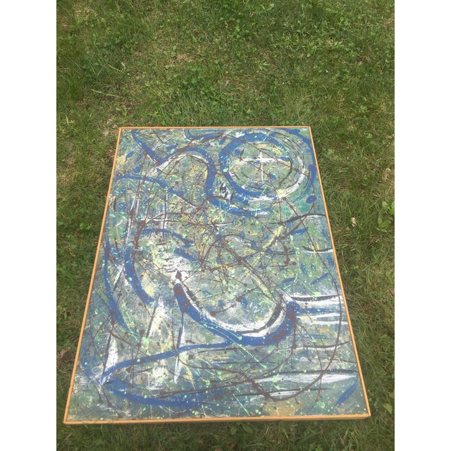 1960s Abstract Expressionist Drip Glaze Style Painting For Sale - Image 5 of 13