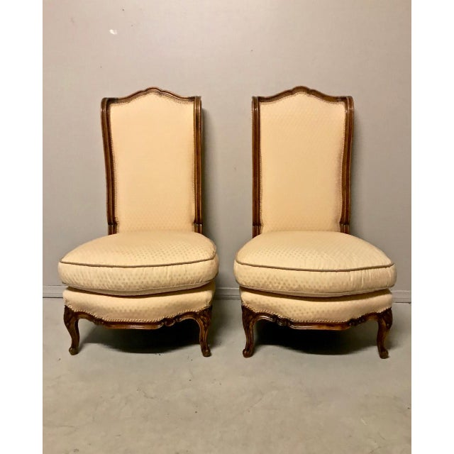 Orange Louis XV-Stye Slipper Chairs or Chauffeuses - a Pair For Sale - Image 8 of 8
