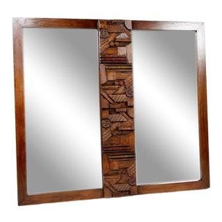 Vintage Lane Brutalist Style Walnut Sculptural Double Mirror For Sale