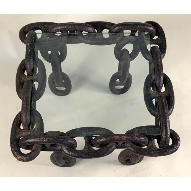 1940s Antique Iron Chain Link Coffee Table For Sale - Image 5 of 6