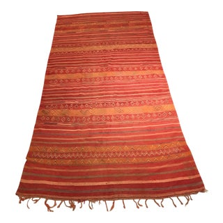 Red and Orange Flat Woven Moroccan Rug