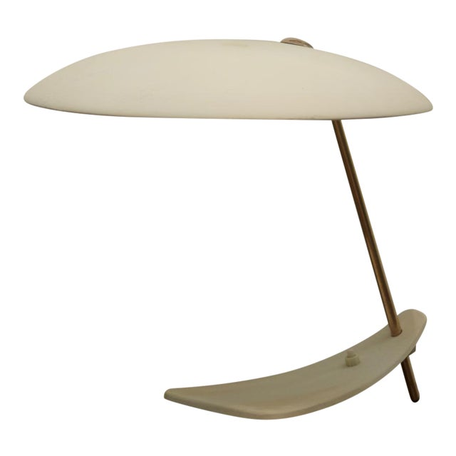Mid-Century Brass & Steel Table Lamp For Sale