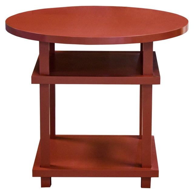 Contemporary Councill Red Lacquer Round Allen Table For Sale - Image 3 of 3
