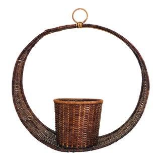 Vintage Circular Hanging Wicker Basket Planter For Sale