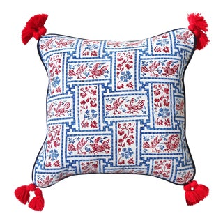 "Indigo & Red Chinoiserie Pillowcase ""Love Birds"""