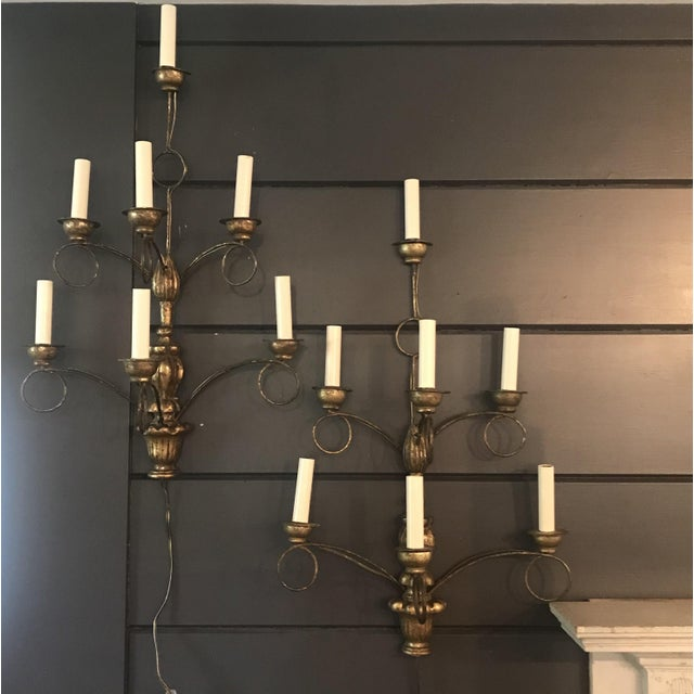 Wood Rench Gold Seven-Light Wooden Water Gilt Sconces -A Pair For Sale - Image 7 of 7