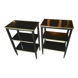 Maison Jansen Chicest Pair of 3 Tier Black Side Table With Bronze Accent For Sale