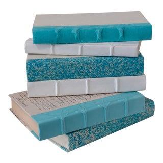 Aqua and White Decorative Covered Books - Set of 6 For Sale