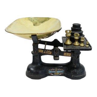Antique English Cast Iron Scale W/ Weights For Sale
