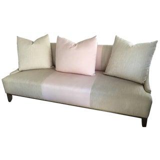 Contemporary Modern Tan Linen & Pink Custom-Made Fashion Sofa For Sale