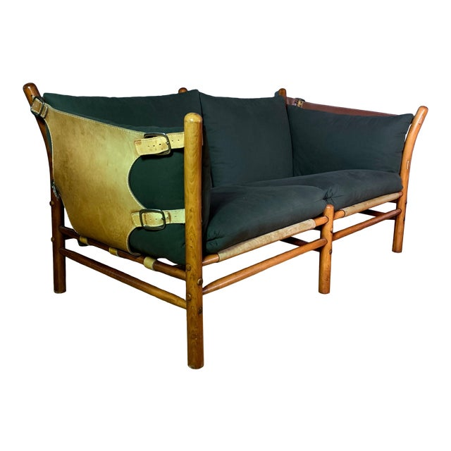 """Arne Norell """"Ilona"""" Leather and Cotton Sofa, Sweden 1970s For Sale"""