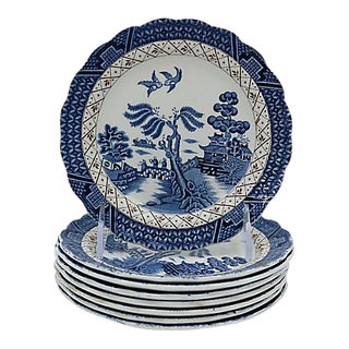 English Willow Cake Plates - S/8 For Sale