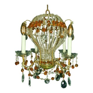 Maison Bagues Paris Hollywood Regency Beaded Hot Air Balloon Chandelier For Sale