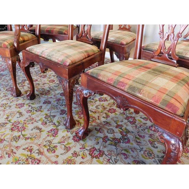 Brown 1990s Reproduction Solid Mahogany Chippendale Style Dining Chairs - Set of 10 For Sale - Image 8 of 11