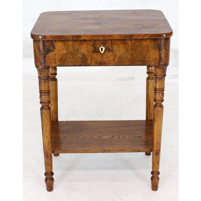 19th Century Biedermeier Burl Walnut One Drawer Sewing Stand Table For Sale - Image 13 of 13
