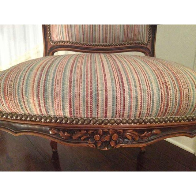 Brown Pair of French Walnut Upholstered Armchairs For Sale - Image 8 of 11