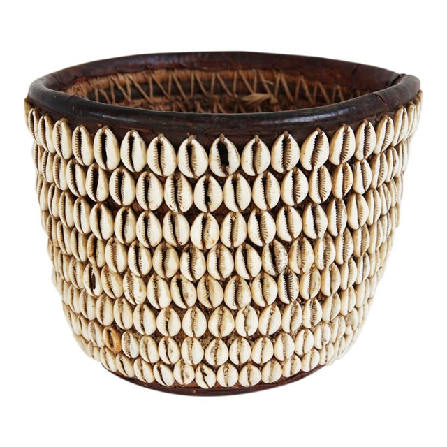 Vintage Nigerian Cowry Shell Basket - Image 1 of 5