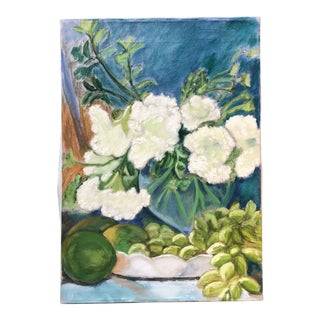 Vintage Original Still Life Painting With Fruit & Flowers 1970's For Sale