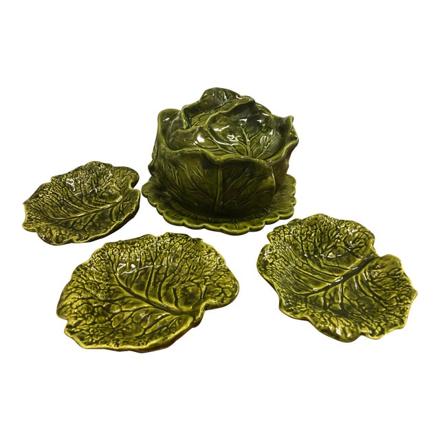 Holland Ceramics Cabbage Soup Tureen With Sharable Plates - 4 Pieces For Sale