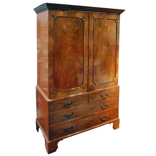 18th C. Georgian Mahogany Linen Press For Sale