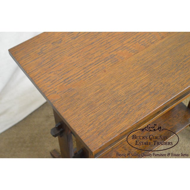 """Roycroft """"The Roycrofters"""" Arts & Crafts Mission Oak Little Journeys Book Stand For Sale - Image 12 of 13"""