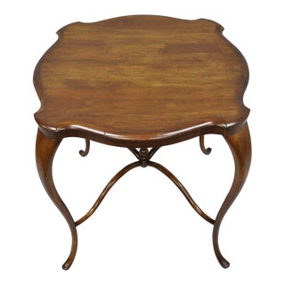 Antique Art Nouveau Victorian Mahogany Cabriole Leg Turtle Top Accent Table