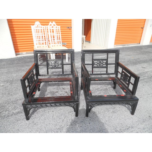 Asian Vintage Orient Express Solid Wood Carved Asian Lounge Chairs- A Pair For Sale - Image 3 of 5