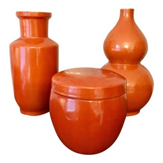 Tozai Home Orange Vases - Set of 3 For Sale