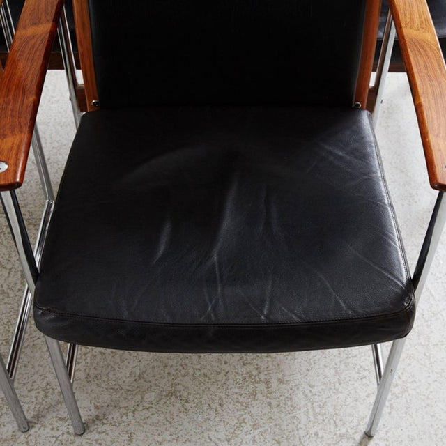 Animal Skin Set of Four Finnish Rosewood Armchairs For Sale - Image 7 of 8