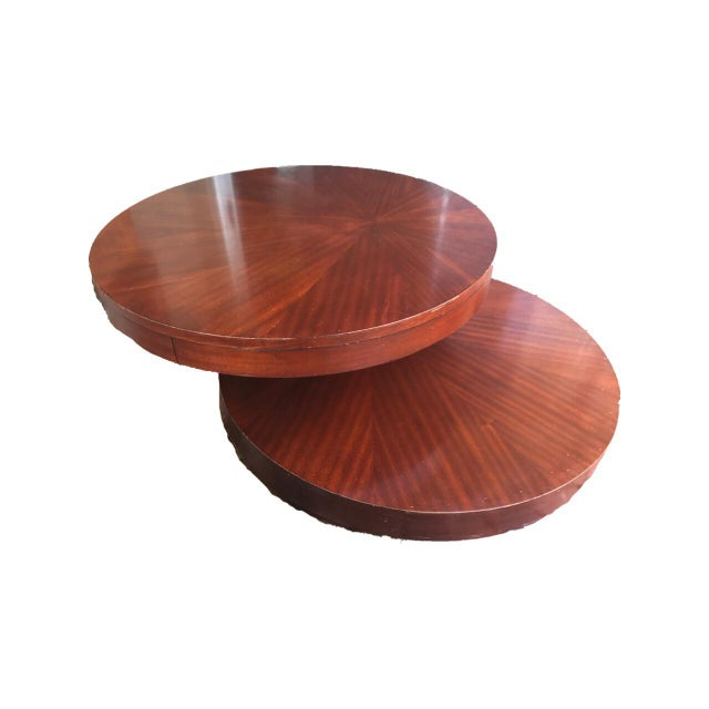 Round Wooden Rotating Coffee Table Chairish