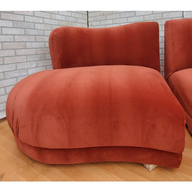 Burnt Orange Mid Century Modern Vladimir Kagan for Directional Three Piece Curved Black Sectional Sofa For Sale - Image 8 of 12