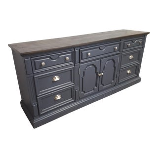 Thomasville Country Modern Large Dark Grey Walnut Dresser For Sale