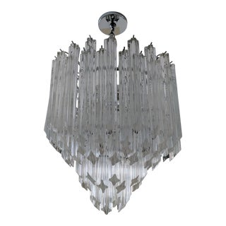 1970s Hollywood Regency Murano Venini Chandelier For Sale